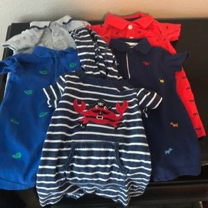Colorful 6 month Little Me and Carter Rompers